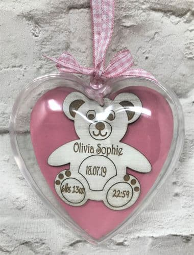 Teddy Bear Personalised Newborn Baby Hanging Heart Bauble Nursery Decoration