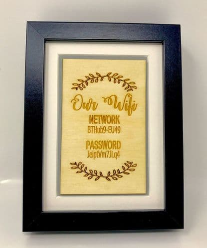 Wifi Personalised Password Sign Freestanding Framed Plaque